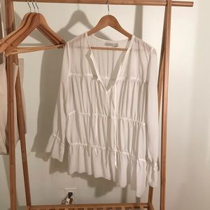 Hinge White Tiered Blouse